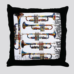 Trumpet Player Art Design by Juleez Throw Pillow