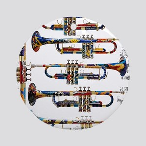 Trumpet Player Art Design by Juleez Round Ornament