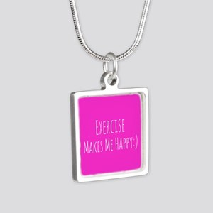 Exercise Makes Me Happy Silver Square Necklace