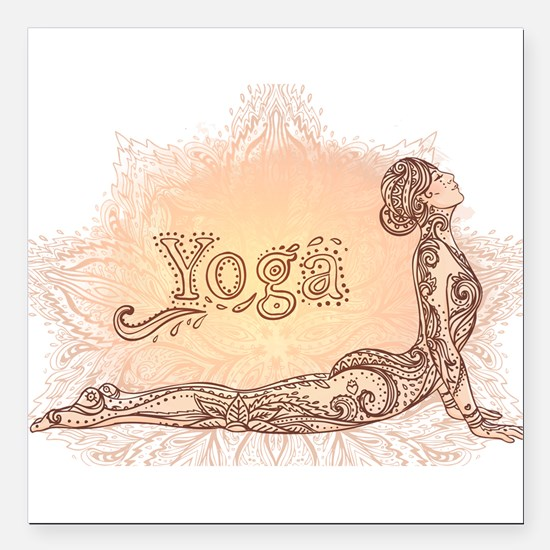 "yoga Square Car Magnet 3"" x 3"""