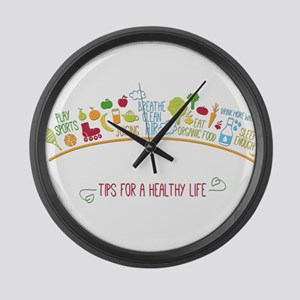 tips for healthy life Large Wall Clock