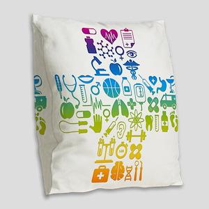 health cross Burlap Throw Pillow