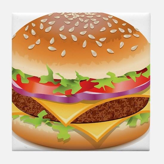 Cute Hamburger Tile Coaster