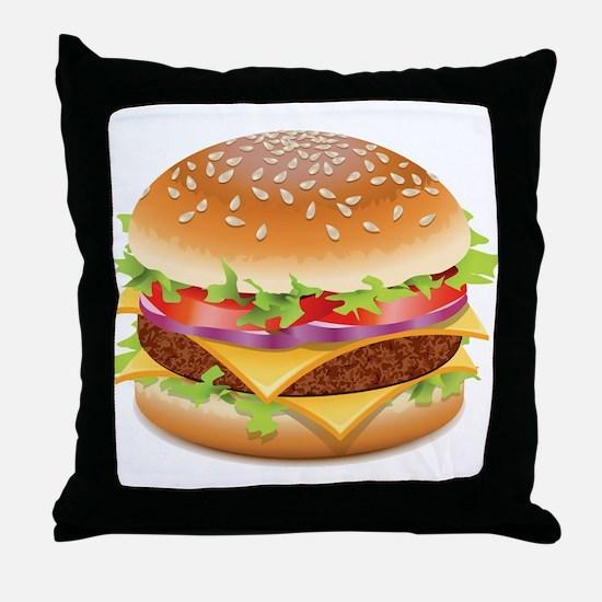 Unique Hamburger Throw Pillow