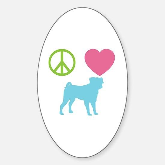Cute Peace love pug Sticker (Oval)
