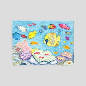 Crayon Fish 5'x7'Area Rug