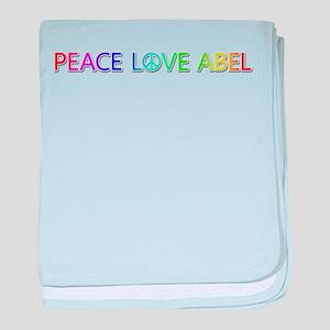 Peace Love Abel baby blanket