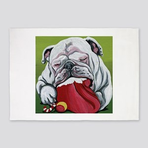 Christmas English Bulldog 5'x7'Area Rug