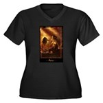 Salome Women's Plus Size V-Neck Dark T-Shirt