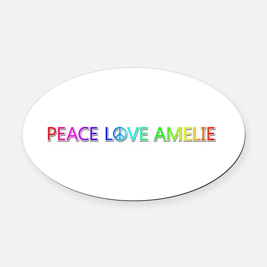 Peace Love Amelie Oval Car Magnet