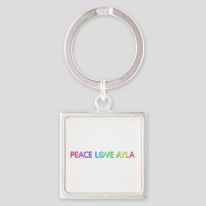 Peace Love Ayla Square Keychain