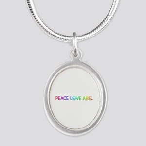 Peace Love Abel Silver Oval Necklace