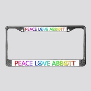 Peace Love Abbott License Plate Frame