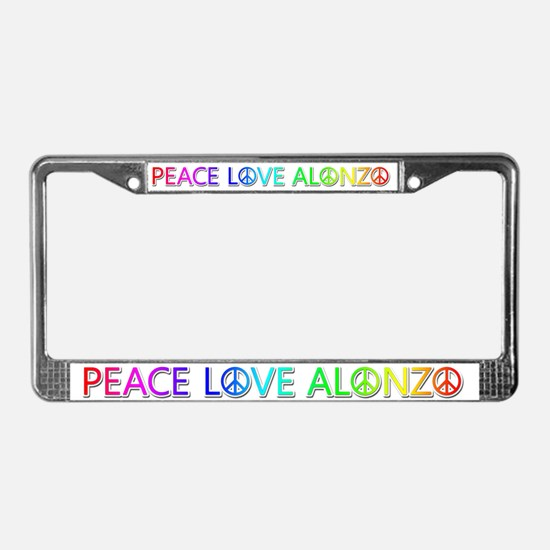 Peace Love Alonzo License Plate Frame