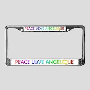 Peace Love Angelique License Plate Frame