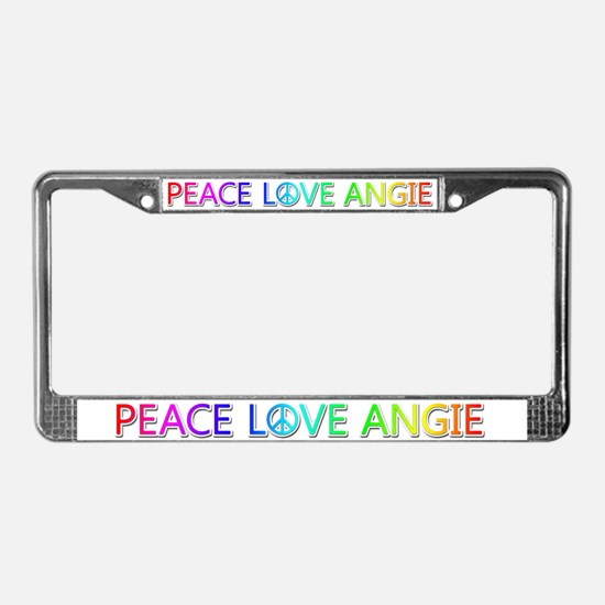 Peace Love Angie License Plate Frame