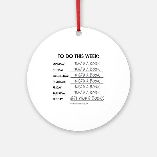 READ A BOOK Round Ornament