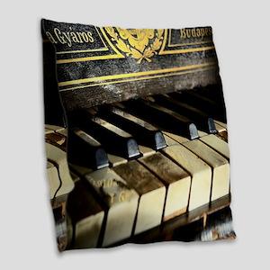 Vintage Piano Burlap Throw Pillow