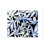 faded blue marijuana leaf Postcards (Package of 8)