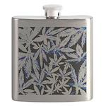 faded blue marijuana leaf Flask