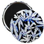 faded blue marijuana leaf Magnets