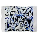 faded blue marijuana leaf Pillow Sham