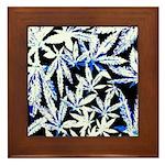 faded blue marijuana leaf Framed Tile