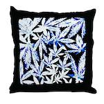 faded blue marijuana leaf Throw Pillow