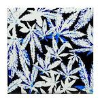 faded blue marijuana leaf Tile Coaster