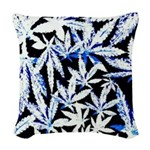 faded blue marijuana leaf Woven Throw Pillow