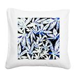 faded blue marijuana leaf Square Canvas Pillow