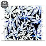faded blue marijuana leaf Puzzle
