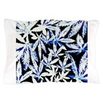 faded blue marijuana leaf Pillow Case