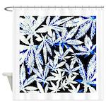 faded blue marijuana leaf Shower Curtain