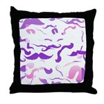 Pink Purple and White mustache collage Throw Pillo