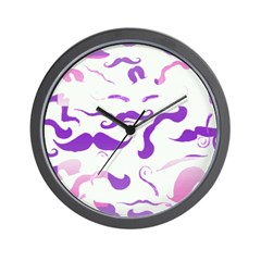 Pink Purple and White mustache collage Wall Clock