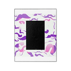 Pink Purple and White mustache collage Picture Frame