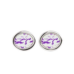 Pink Purple and White mustache collage Oval Cuffli
