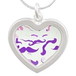 Pink Purple and White mustache collage Necklaces