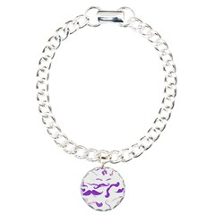 Pink Purple and White mustache collage Bracelet