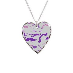 Pink Purple and White mustache collage Necklace