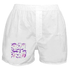 Pink Purple and White mustache collage Boxer Short