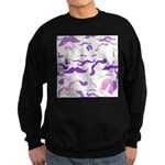 Pink Purple and White mustache collage Sweatshirt