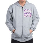 Pink Purple and White mustache collage Zip Hoodie