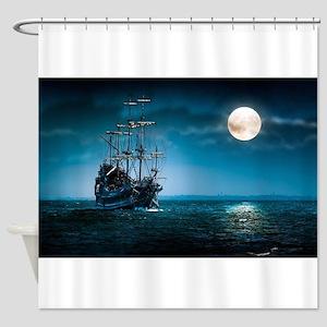 Moonlight Pirates Shower Curtain