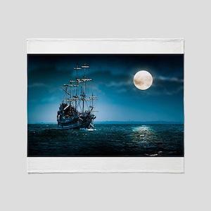 Moonlight Pirates Throw Blanket