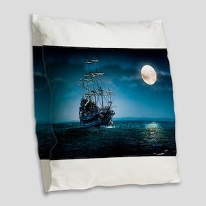 Moonlight Pirates Burlap Throw Pillow