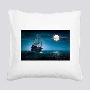 Moonlight Pirates Square Canvas Pillow