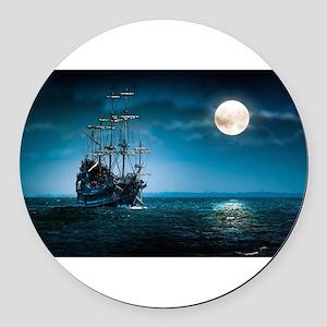 Moonlight Pirates Round Car Magnet