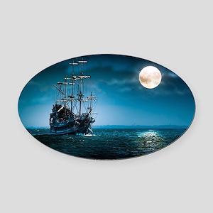 Moonlight Pirates Oval Car Magnet